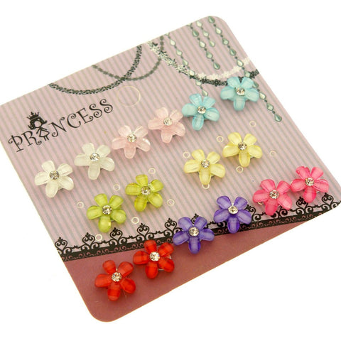 Color Flower Beads with Clear Crystal Magnetic Stud Earrings, Pack of 8 Pairs