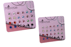 Color Crystal Stud Earrings Fashion Jewelry, Pack of 24 Pairs