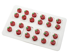 Pack of 12 Pairs Red Strawberry Magnetic Fashion Stud Earrings