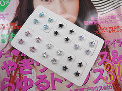 Pack of 12 Pairs Crystal Star Magnetic Fashion Stud Earrings