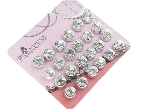 6mm Clear Crystal Magnetic Stud Earrings for Kids Girl Women, Pack of 12
