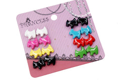 Scottie Dog Fashion Stud Earrings, Pack of 8 Mix Colors