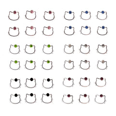 Color Crystal Hello Kitty Fashion Stud Earrings for Girls Kids Women, Pack of 18 Pairs