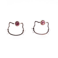 Pink Color Crystal Hello Kitty Fashion Stud Earrings for Girls Kids Women