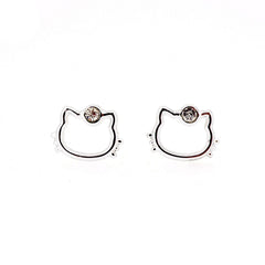 Clear White Crystal Hello Kitty Fashion Stud Earrings for Girls Kids Women