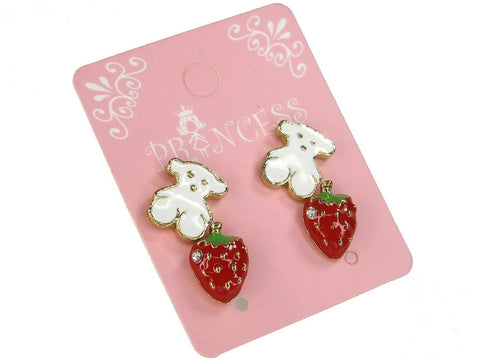 Cute White Bear and Clear Crystal Red Strawberry Stud Earrings, Pack of 2 Pairs