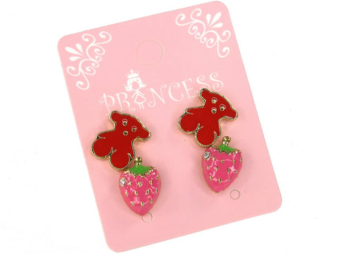 Cute Red Bear and Clear Crystal Pink Strawberry Stud Earrings, Pack of 2 Pairs
