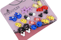 Color Cute Fashion Stud Earrings, Pack of 12 Pairs, Mix of design