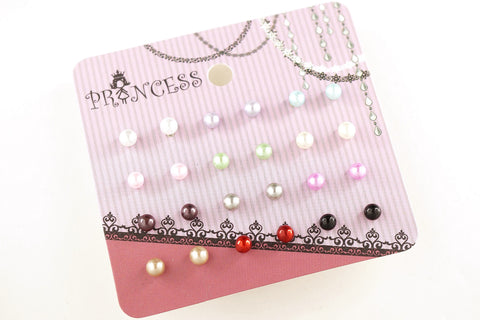 Pack of 12 Pairs 12 Color 4mm Bead Faux Pearl Stud Earrings