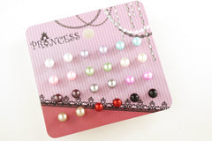 Pack of 12 Pairs 12 Color 5mm Bead Faux Pearl Stud Earrings