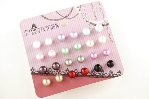 Pack of 12 Pairs 12 Color 6mm Bead Faux Pearl Stud Earrings