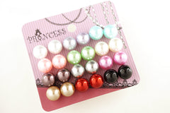 Pack of 12 Pairs 12 Color 10mm Bead Faux Pearl Stud Earrings