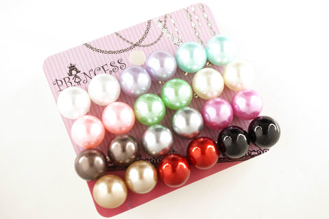 Pack of 12 Pairs 12 Color 12mm Bead Faux Pearl Stud Earrings