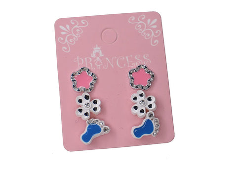 Color Cute Fashion Stud Earrings for Girls, Pack of 3 Pairs, Mix of design (C)