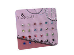 "Pack of 12 Pairs 5/32"" (4mm) Color Small Crystal Stud Earrings Fashion Jewelry for Teens Girls Women"