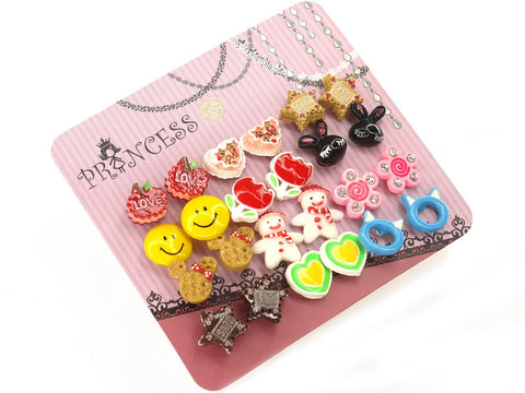 Color Cute Girl Fashion Stud Earrings, Pack of 12