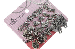 Antique Silver Tone Crystal  Vintage Fashion Jewelry Stud Earrings, Pack of 18 Pairs (A)