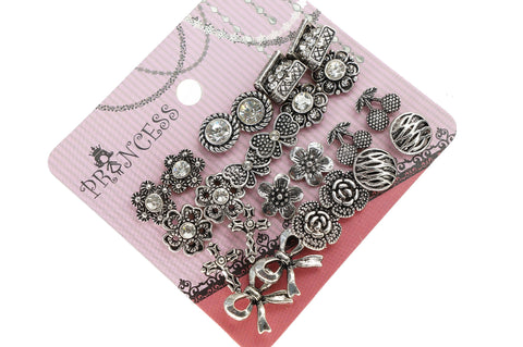 Antique Silver Tone Crystal  Vintage Fashion Jewelry Stud Earrings, Pack of 18 Pairs (B)