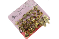Antique Gold Tone Crystal  Vintage Fashion Jewelry Stud Earrings, Pack of 18 Pairs (A)