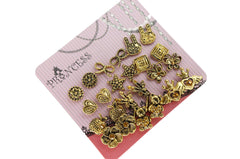 Antique Gold Tone Crystal  Vintage Fashion Jewelry Stud Earrings, Pack of 18 Pairs (B)