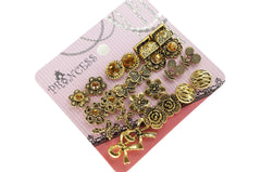 Antique Gold Tone Crystal  Vintage Fashion Jewelry Stud Earrings, Pack of 18 Pairs (C )