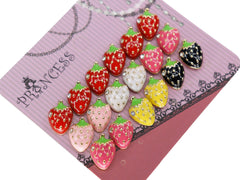 Color Strawberry w Clear Crystal Fashion Stud Earrings, Pack of 9