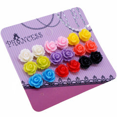Pack of 9 Pairs Color Rose Stud Earrings, Fashion Jewelry for Teen Girls Women