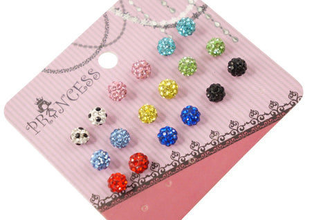 6mm Shamballa Beads Bling Color Crystal Pave Disco Ball Jewelry Stud Earrings