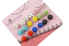 7mm Shamballa Beads Bling Color Crystal Pave Disco Ball Jewelry Stud Earrings
