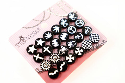 Round Black and White Skull Biker Punk Goth Emo Button Studs Earrings Pack of 12