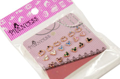Lot of 9 Rose Gold Mickey n Kitty Color Crystal Studs Earrings Girls Kids Womens
