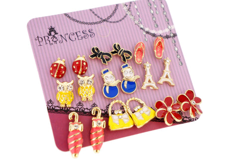 Wholesale Lot of 9 Pairs Color Enamel Fashion Jewelry Earrings for Girl Women B