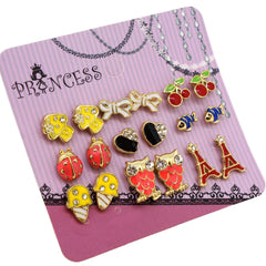 Wholesale Lot of 9 Pairs Color Enamel Fashion Jewelry Earrings for Girl Women C