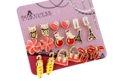 Wholesale Lot of 9 Pairs Color Enamel Fashion Jewelry Earrings for Girl Women D