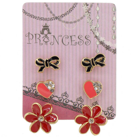 Pack of 3 Pairs Color Enamel Fashion Jewelry Earrings for Teen Girl Women C Set