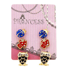 Pack of 3 Pairs Color Enamel Fashion Jewelry Earrings for Teen Girl Women D Set
