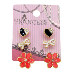Pack of 3 Pairs Color Enamel Fashion Jewelry Earrings for Teen Girl Women I Set