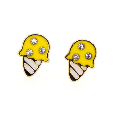 Color Enamel Fashion Jewelry Earrings for Teen Girl Women Yellow Ice Cream