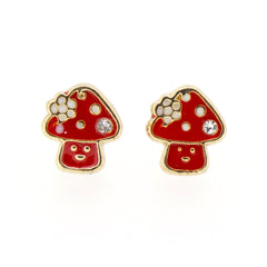 Color Enamel Fashion Jewelry Earrings for Teen Girl Women Red Mushroom