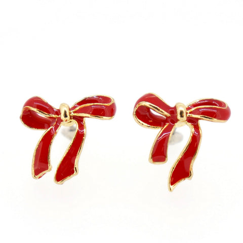 Color Enamel Fashion Jewelry Earrings for Teen Girl Women Big Red Bow Tie