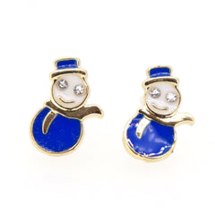 Color Enamel Fashion Jewelry Earrings for Teen Girl Women Blue Snowman