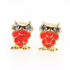 Color Enamel Fashion Jewelry Earrings for Teen Girl Women Pink Owl