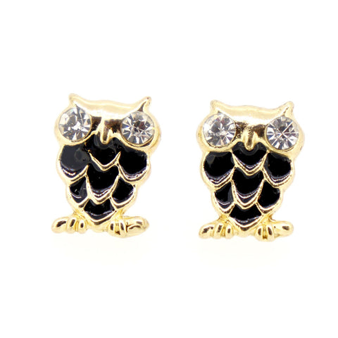 Color Enamel Fashion Jewelry Earrings for Teen Girl Women Black Owl