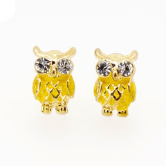Color Enamel Fashion Jewelry Earrings for Teen Girl Women Yellow Owl