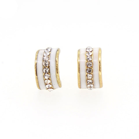 Color Enamel Fashion Jewelry Earrings for Teen Girl Women White Hoop