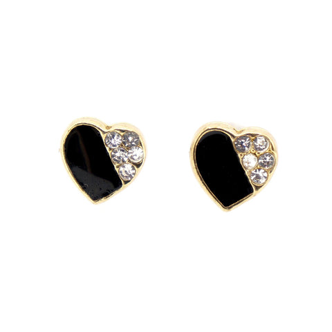 Color Enamel Fashion Jewelry Earrings for Teen Girl Women Black Heart