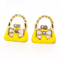 Color Enamel Fashion Jewelry Earrings for Teen Girl Women Yellow Hand Bag