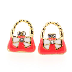 Color Enamel Fashion Jewelry Earrings for Teen Girl Women Pink Hand Bag