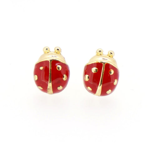 Color Enamel Fashion Jewelry Earrings for Teen Girl Women Red Beetle