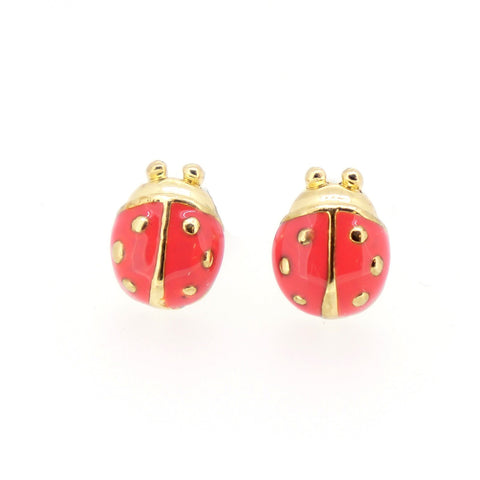 Color Enamel Fashion Jewelry Earrings for Teen Girl Women Pink Beetle